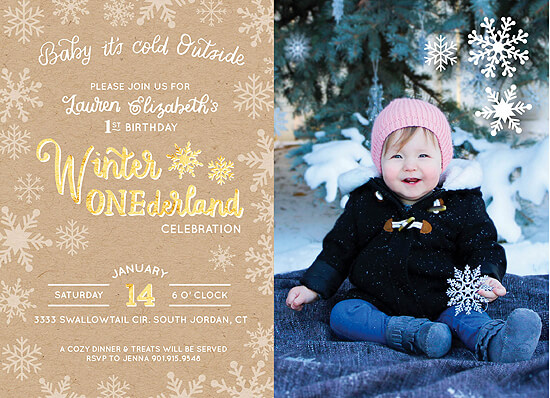 Party by Number: ONE - Halfpint Design - Great first birthday party invitation ideas....Winter ONEderland