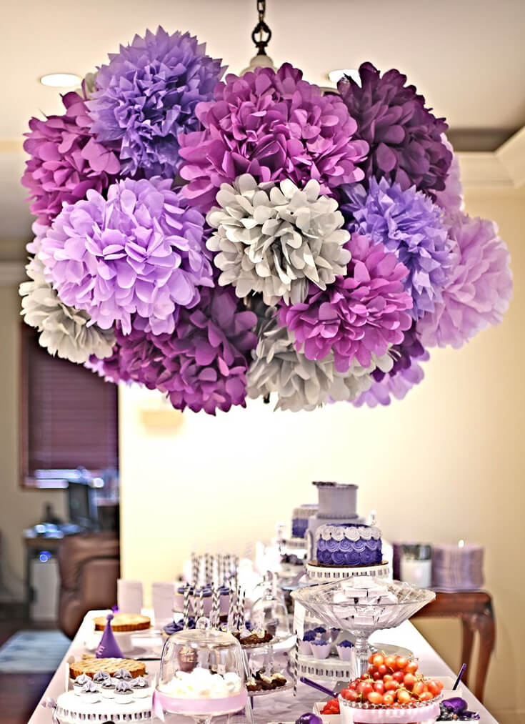 A Passion for Purple   Halfpint Design - Lovely purple party show stopper with the purple pom pom chandelier. I love all of the different tints and shades of purple.