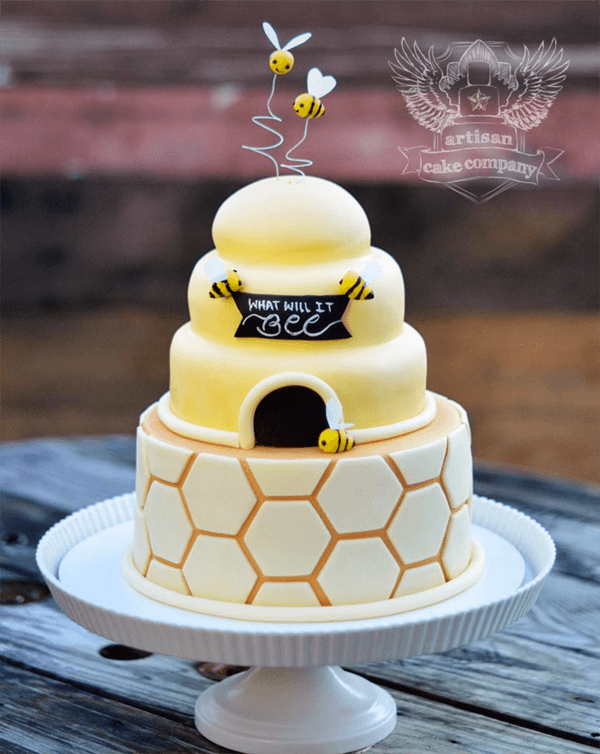 Classy Gender Reveal Party Ideas | Halfpint Design - What will it BEE? Fun neutral colored gender reveal or baby shower theme. Love the beehive cake with honeycomb fondant.