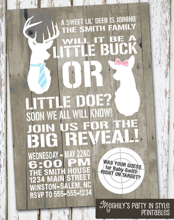 Humorous Gender Reveal Party Ideas | Halfpint Design - Buck or Doe gender reveal party invitation - A sweet lil' deer is joining our family. Will it be a little buck or a little doe? Soon we will know.