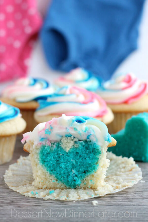10 Ways to Reveal Baby's Gender | Halfpint Design - Love the blue heart baked into this cupcake to reveal that it's a BOY!