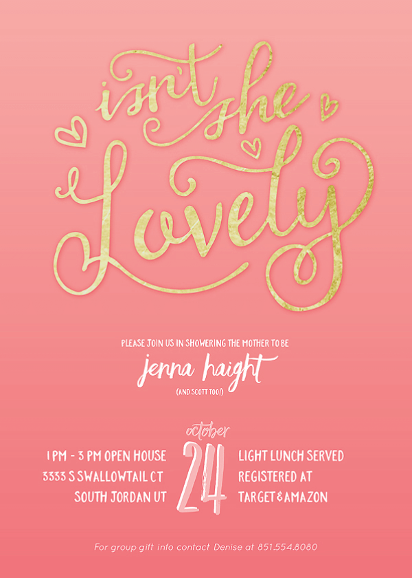 "Vintage Coral & Gold Baby Shower | Halfpint Design - Coral and gold baby shower invitation ""Isn't she lovely"""
