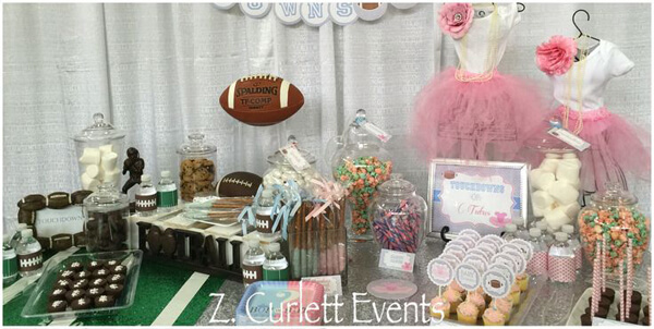 Humorous Gender Reveal Party Ideas | Halfpint Design - Touchdowns or Tutus, personalized party themes based on mom and dad's interests can make the party more meaningful. Lots of great details here for the football sports fan AND the dancer.