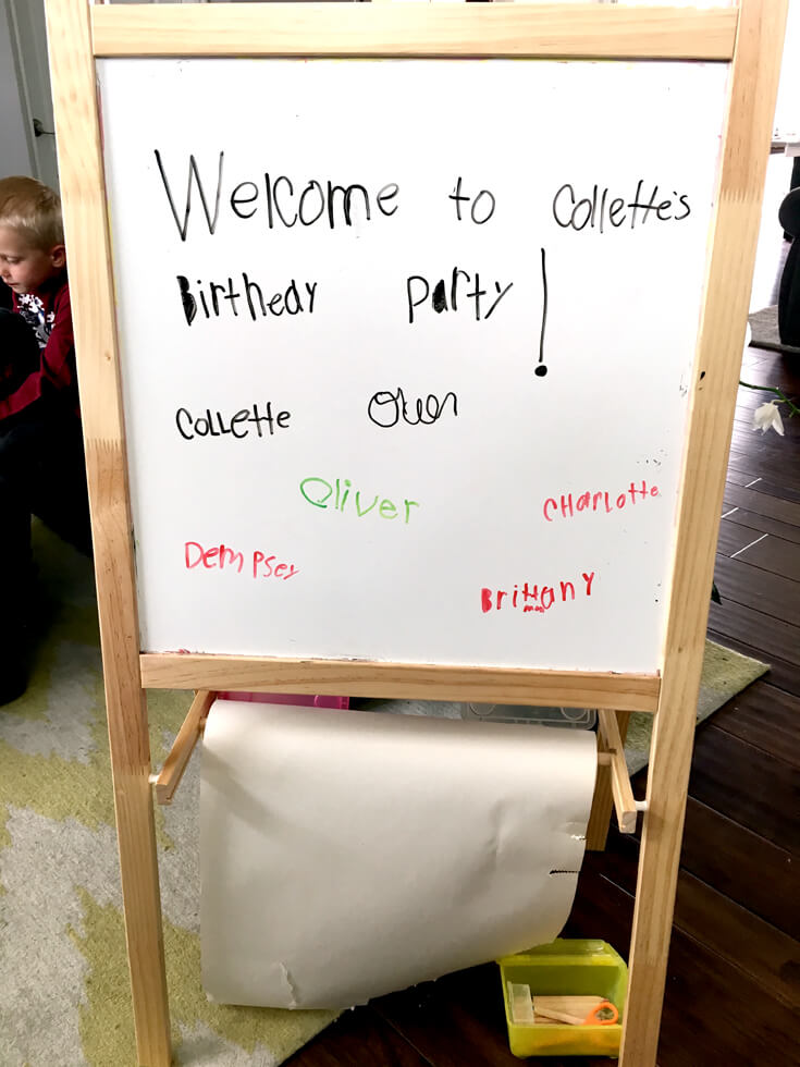 6th Birthday Book Party | Halfpint Design - Our mini hostess created her very own welcome sign for all her guests to autograph.