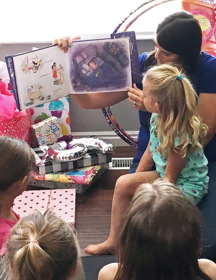 6th Birthday Book Party   Halfpint Design - The perfect addition to any book party? The reading of the birthday girls' favorite books!