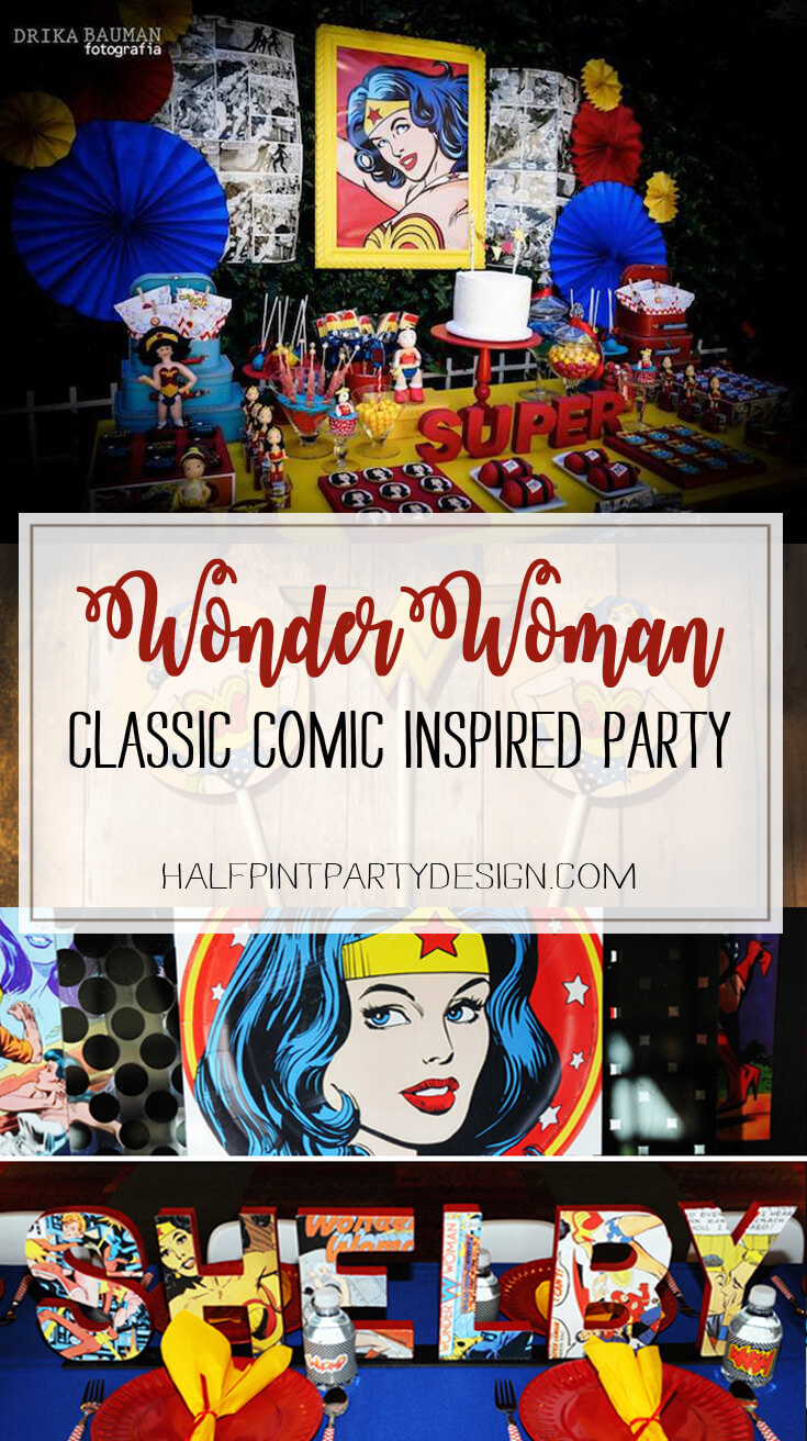A classic take on Wonder Woman with a retro vibe. Love the comic art. Comic Wonder Woman Party | Halfpint Design, party ideas, party themes