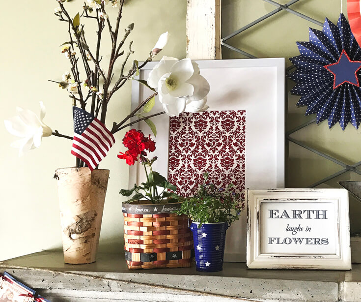 Patriotic Mantel Decor Ideas   Halfpint Design - Loving the more rustic Americana decor for my fourth of July Mantel. Framed art is easy to switch out for different holidays. Red, white, and blue 4th of July.