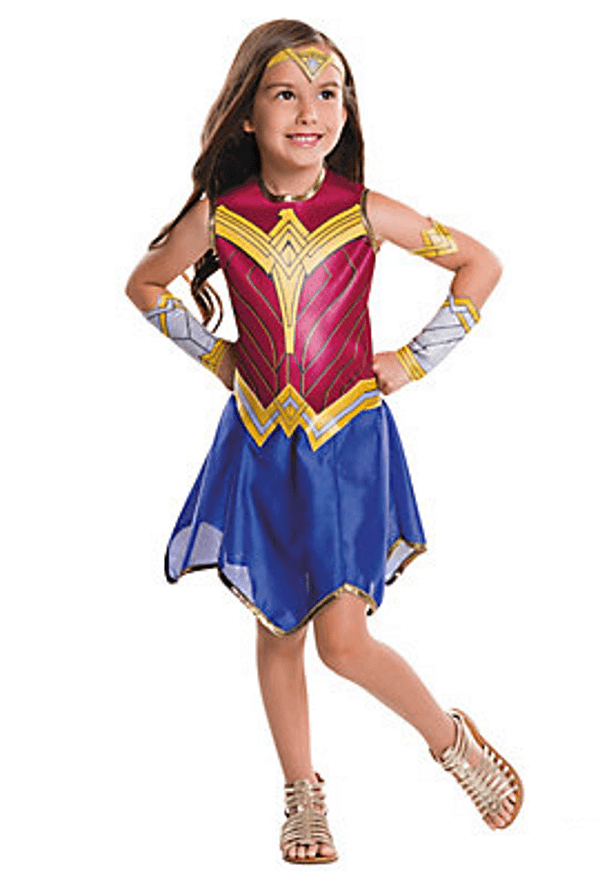 Great new Wonder Woman costume for girls. More courage. Less sexy. That's what I want for my daughter. Classy Wonder Woman Birthday Party Decor | Halfpint Design