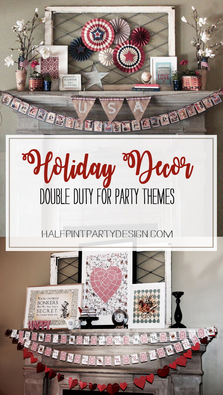 Holiday Decor Double Duty | Halfpint Design - Plan a party theme that fits with your seasonal decor and half your party planning battle is over. This patriotic mantel is great for a super hero party or nautical party. Red, white, and blue are perfect party colors to use before and after 4th of July for a Wonder Woman or Captain America party (stars included) or Superman and Spiderman. Double Duty Fourth of July decor.