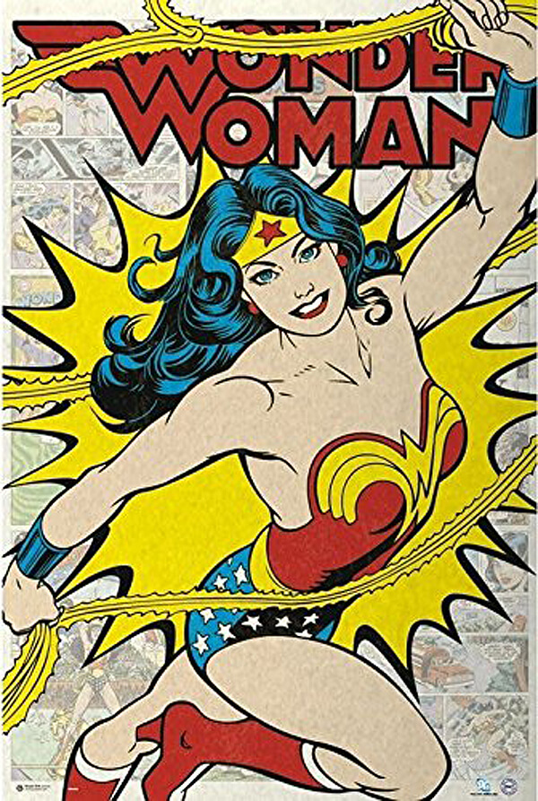 Retro Wonder Woman poster for a fabulous focal point. Comic Wonder Woman Party | Halfpint Design, party ideas, party themes