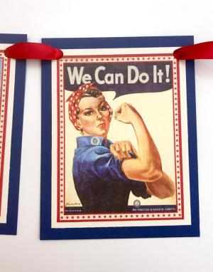 1940's Retro Patriotic Banner DIY | Halfpint Design - A great addition to your patriotic decor for 4th of July, Memorial Day, Patriot's Day, Veteran's Day or when you are just Proud to be an American! Vintage looking pin-up images. Americana decor. Step 5 - red ribbon stringing