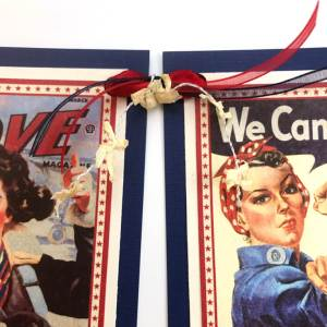 1940's Retro Patriotic Banner DIY | Halfpint Design - A great addition to your patriotic decor for 4th of July, Memorial Day, Patriot's Day, Veteran's Day or when you are just Proud to be an American! Vintage looking pin-up images. Americana decor. Step 6 - raffia bows