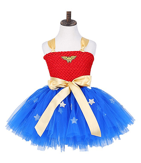 Great little Wonder Woman tutu dress for Toddlers. More courage. Less sexy. That's what I want for my daughter. Classy Wonder Woman Birthday Party Decor | Halfpint Design