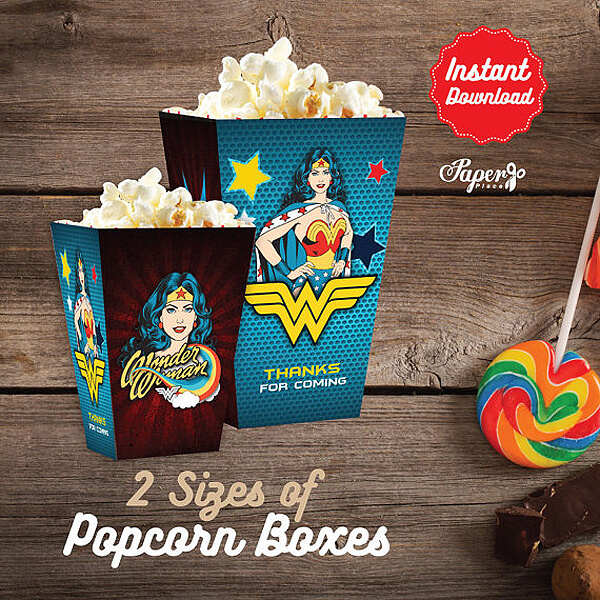 Printable movie popcorn boxes are perfect for a viewing party or just a great addition to the snack bar. Wonder Woman Party Food | Halfpint Design, party ideas, party themes