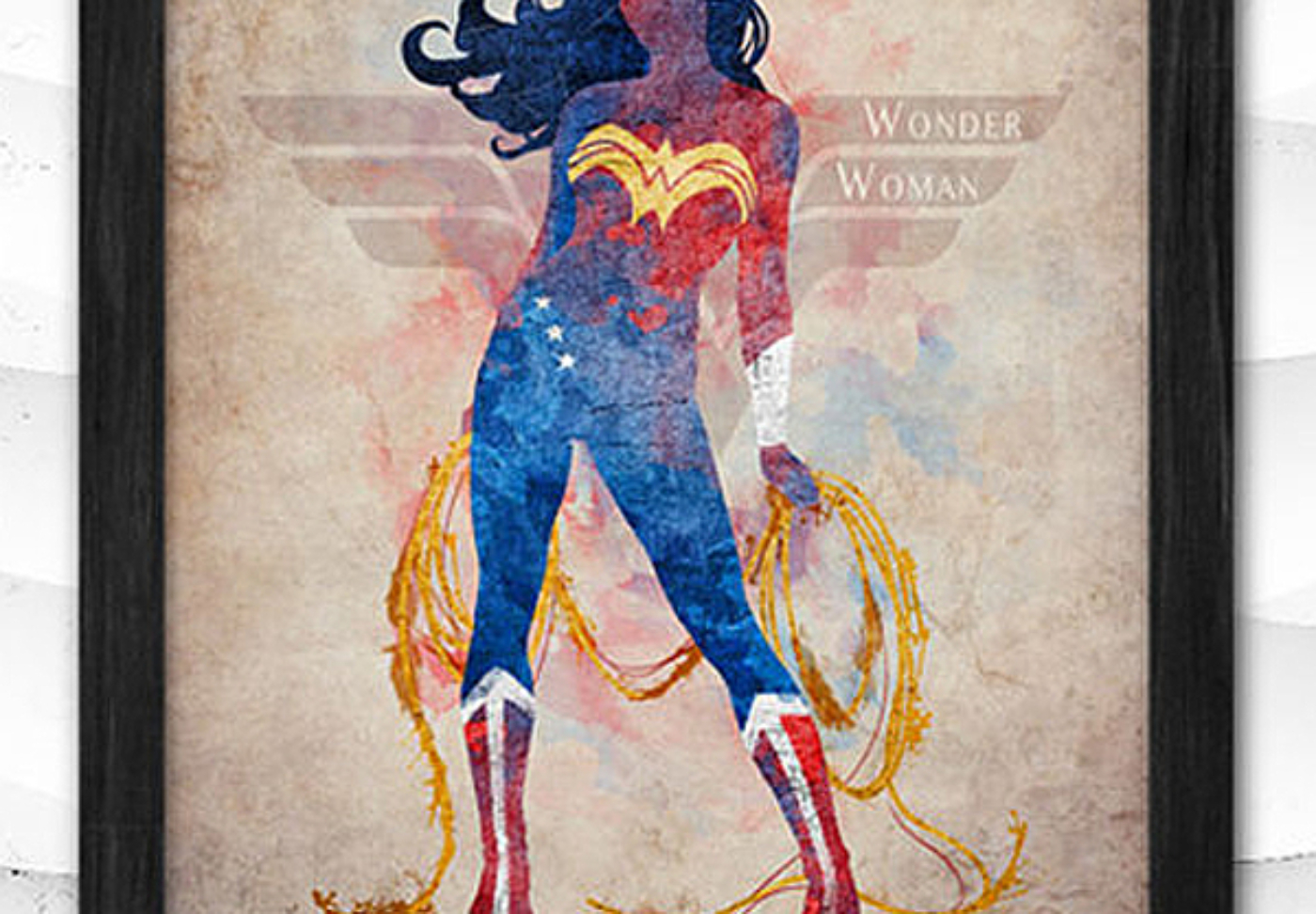 This updated Wonder Woman print is an awesome addition to a Wonder Woman party and is nice enough to hang in a bedroom, media room, or play room after the party is over. Classy Wonder Woman Birthday Party Decor   Halfpint Design