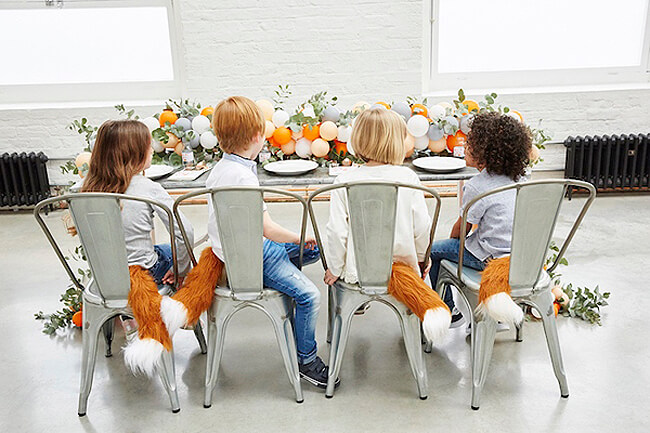 Holiday Decor Double Duty | Halfpint Design - This darling modern woodland fox party theme works very well as a Fall birthday party theme building off colors and decor used before and after Thanksgiving. Double duty Thanksgiving decor.
