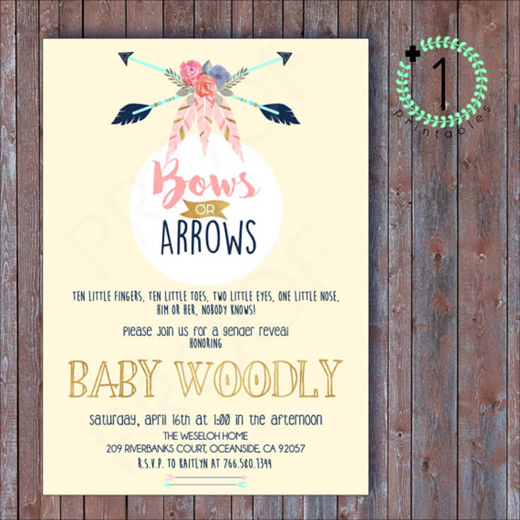Bows or Arrows: Gender Reveal Party Ideas | Halfpint Design - Darling Bows or Arrows gender reveal invitation. Can also be customized for a boho baby shower.