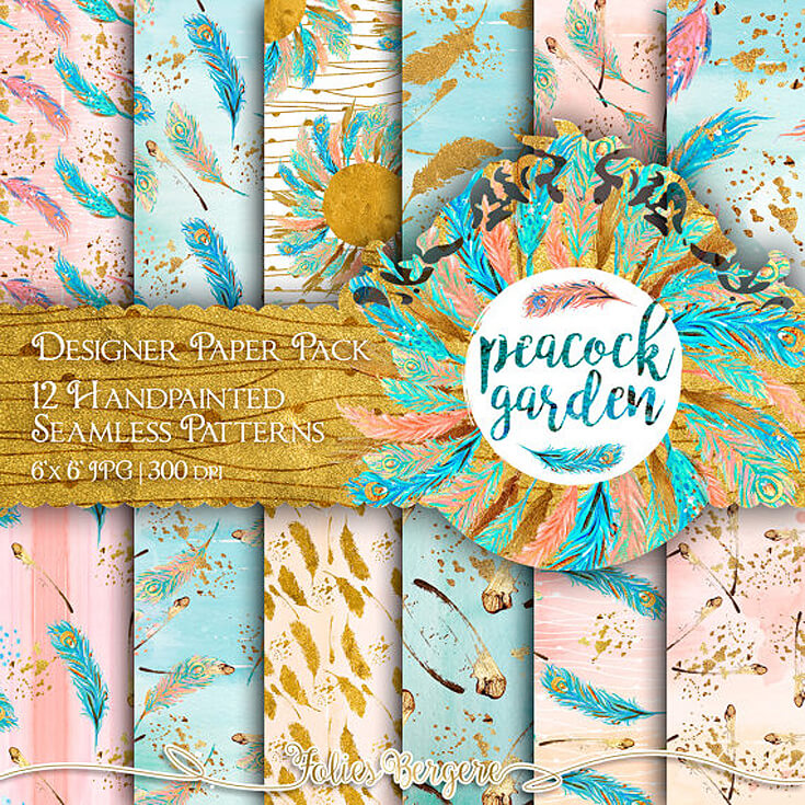 Bows or Arrows: Gender Reveal Party Ideas | Halfpint Design - Digital scrapbook papers that come in high resolutions have become my new go-to for party backdrops. Just print on large paper or photos and attach to the wall. Love this peacock garden collection with all the boho tribal bows and arrows. Great for Bows or arrows gender reveal, boho baby shower, or wild one birthday party. You can also frame it for nursery decor once baby has arrived.