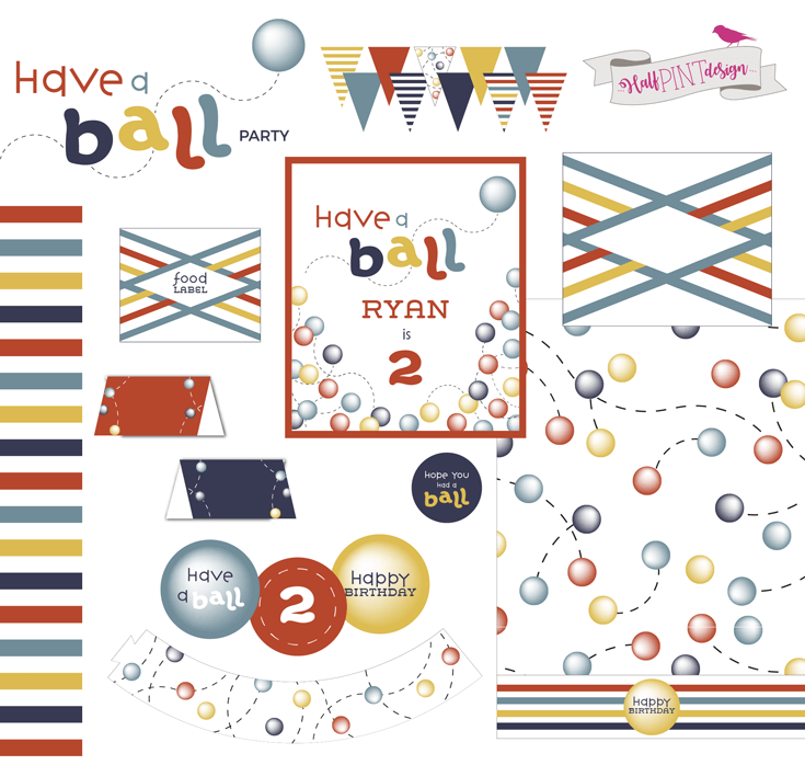 Have a Ball party invitation and thank you card. HalfpintPartyDesign on Etsy. Digital Party printables. Ball Party. Boy party theme. 2nd birthday.