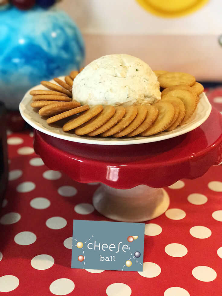 "Ball Party Event Menu | Halfpint Design - A cheese ball with the ""yummy round crackers"" was a special request. Since it fit the theme....the answer was a resounding yes! Ball party food ideas."
