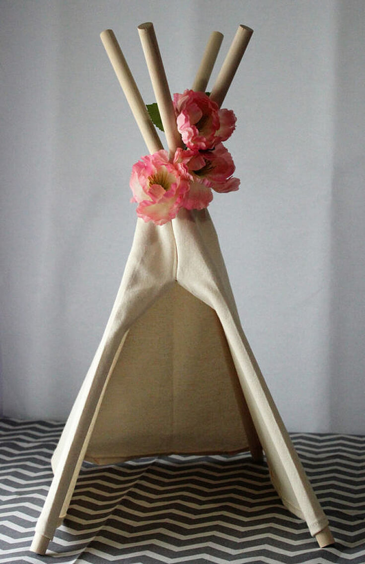 """Bows or Arrows: Gender Reveal Party Ideas   Halfpint Design - I LOVE this mini teepee centerpiece. Comes in sizes ranging from 12"""" to 24"""" high. Would be beautiful on the food, buffet, or gift tables for a bows or arrows gender reveal, Boho baby shower or Wild One birthday party."""