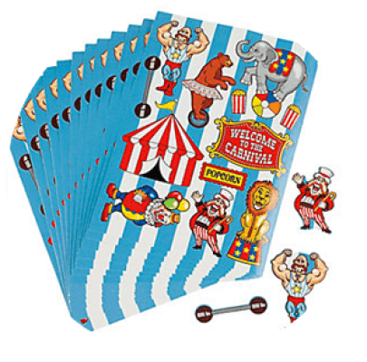 Create a Circus scene with stickers! A great ideas for your PTA fundraiser or back to school carnival or just a carnival themed classroom activity! Check out this list of great and easy carnival and circus crafts. Some DIY, some D-I-BUY. Both very simple and fun. Carnival Crafts for Busy Bodies | Halfpint Design, circus craft, circus party, carnival party, kids crafts, kids activities.