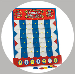 The disk drop is a classic carnival game perfect for a PTA fundraiser, back to school carnival, or birthday party - Painless Carnival Party Amusements | Halfpint Design