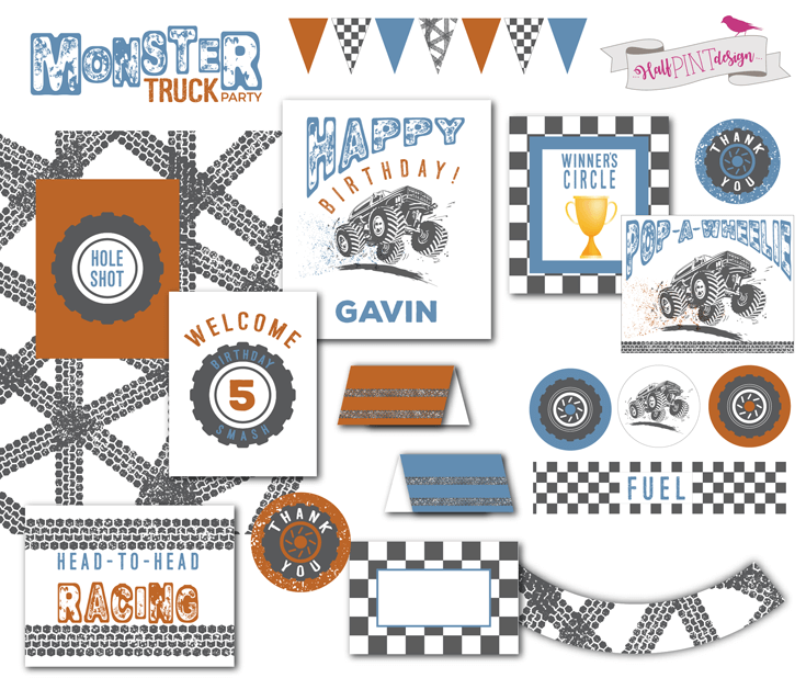 Digital Monster Truck Birthday party printable package - Monster Truck Birthday Party Smash! Halfpint Design with Party Printables from HalfpintPartyDesign on Etsy. Boy party theme. 5th birthday.