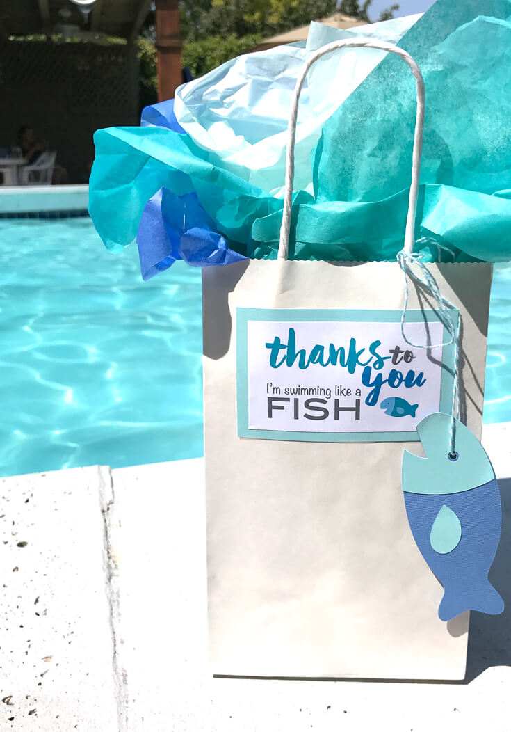 My cute label and fishy tag make this the perfect swim teacher thank you gift. - Classic Swim Teacher Appreciation Gift | Halfpint Design. Teacher gifts, swimming lessons, fishy thank you.