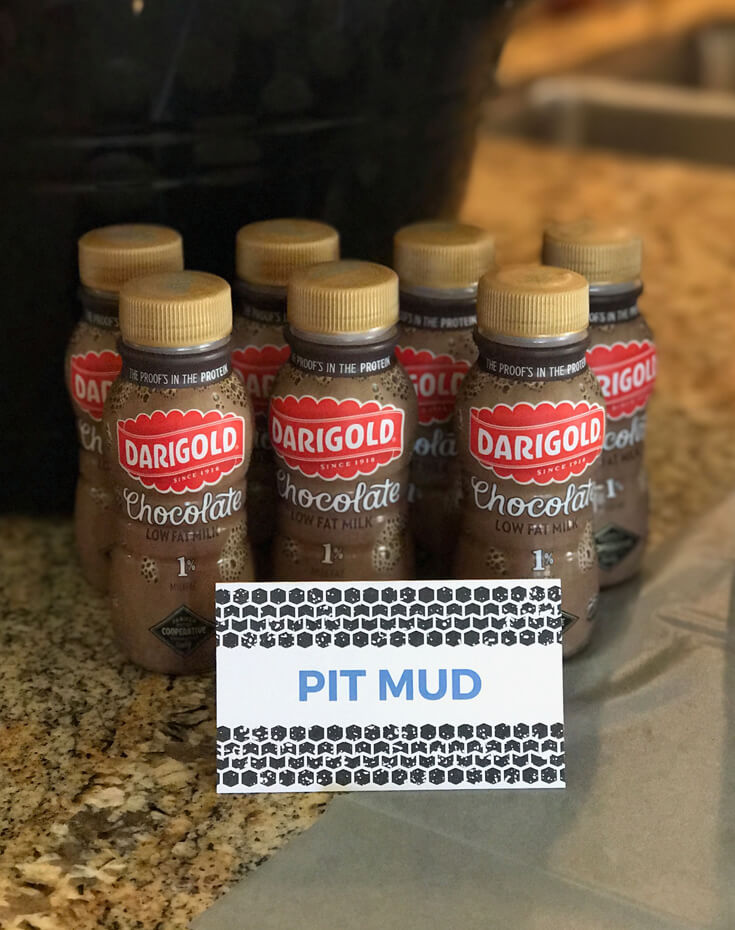 "Chocolate milk as ""Pit Mud"" for one beverage option. Monster Truck Party Menu 
