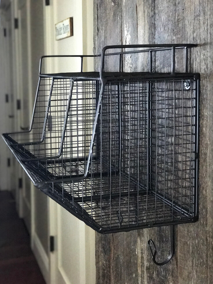 Amazing hanging wire organizing bin with hooks. I LOVE this thing! Farmhouse Back to School Organization | Halfpint Design