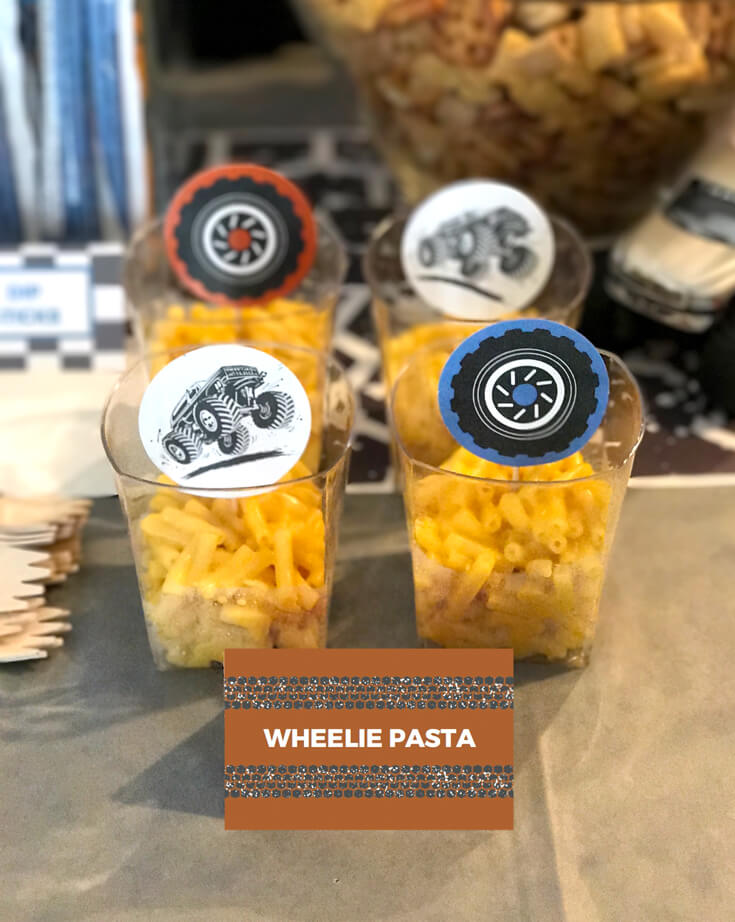 Good ol' mac and cheese was a must have for the birthday boy. Wanted wheels but these had to do! Monster Truck Party Menu | Halfpint Design - party food, event menu