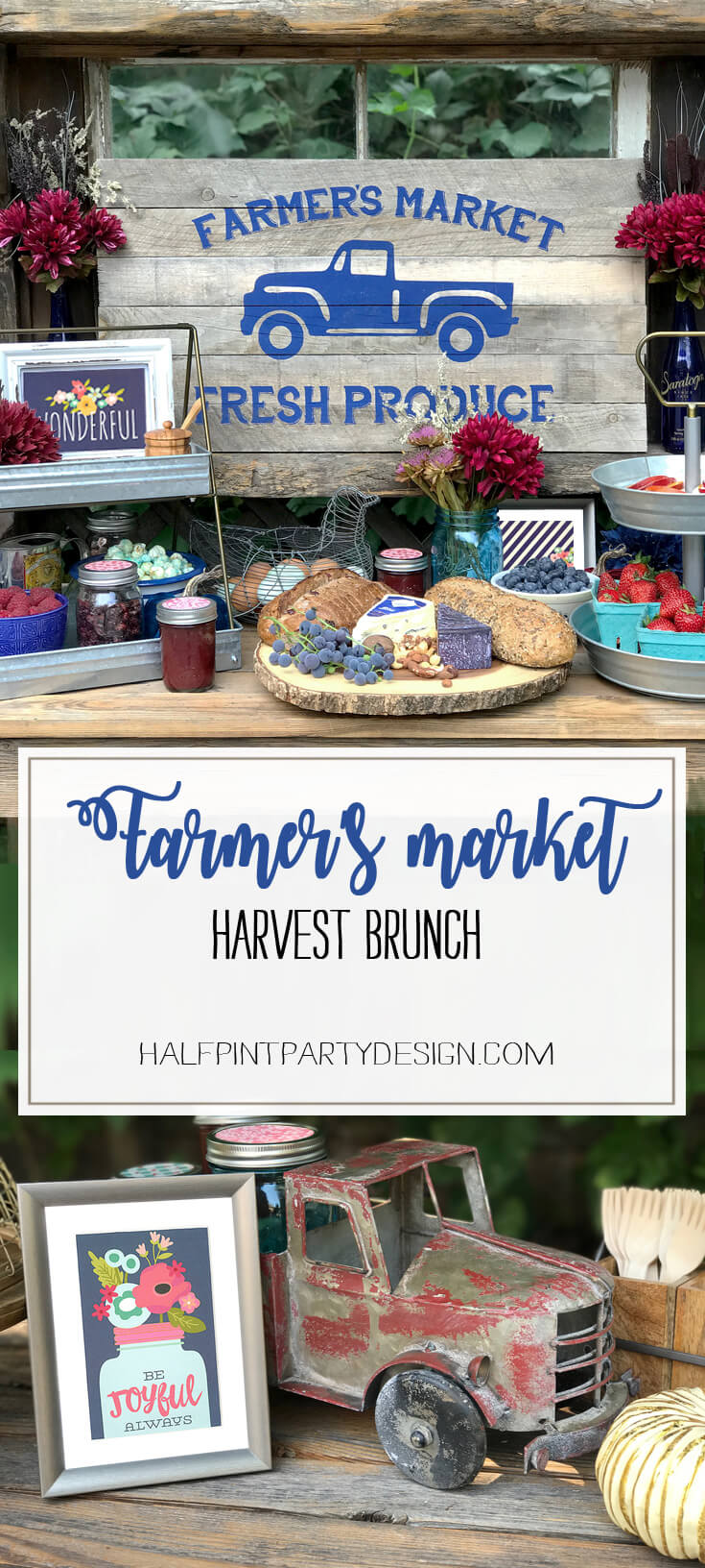 Welcome to Fall! To celebrate we hosted a Farmer's Market brunch with fresh berries, local peaches, harvest breads, and yummy cheese with farm fresh egg crepes. Farmer's Market Harvest Brunch | Halfpint Design - Fall entertaining, garden food, clean eating