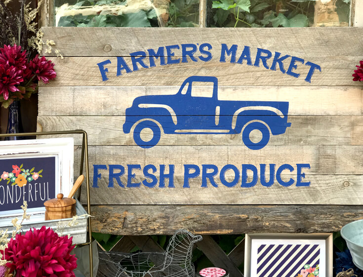 "I love this wooden slat ""Farmer's Market Fresh Produce"" sign I created for this party. The stencil cut file is available! Farmer's Market Harvest Brunch 
