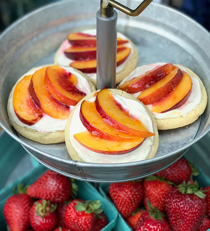 Step 4 - Brush on Apricot preserves with a pastry brush or basting brush and ENJOY them!! Peach Sugar Cookie Tart Recipe | Halfpint Design - easy recipe, cookies recipe, event food, fruit dessert