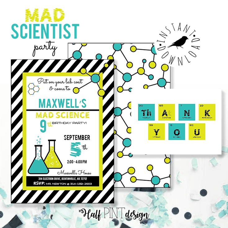 It starts with the invitation. These mad science invitations are perfect for a birthday party. Mad Science Party Ideas   HalfpintPartyDesign - Science Party, Science Food, STEM party, Mad Science