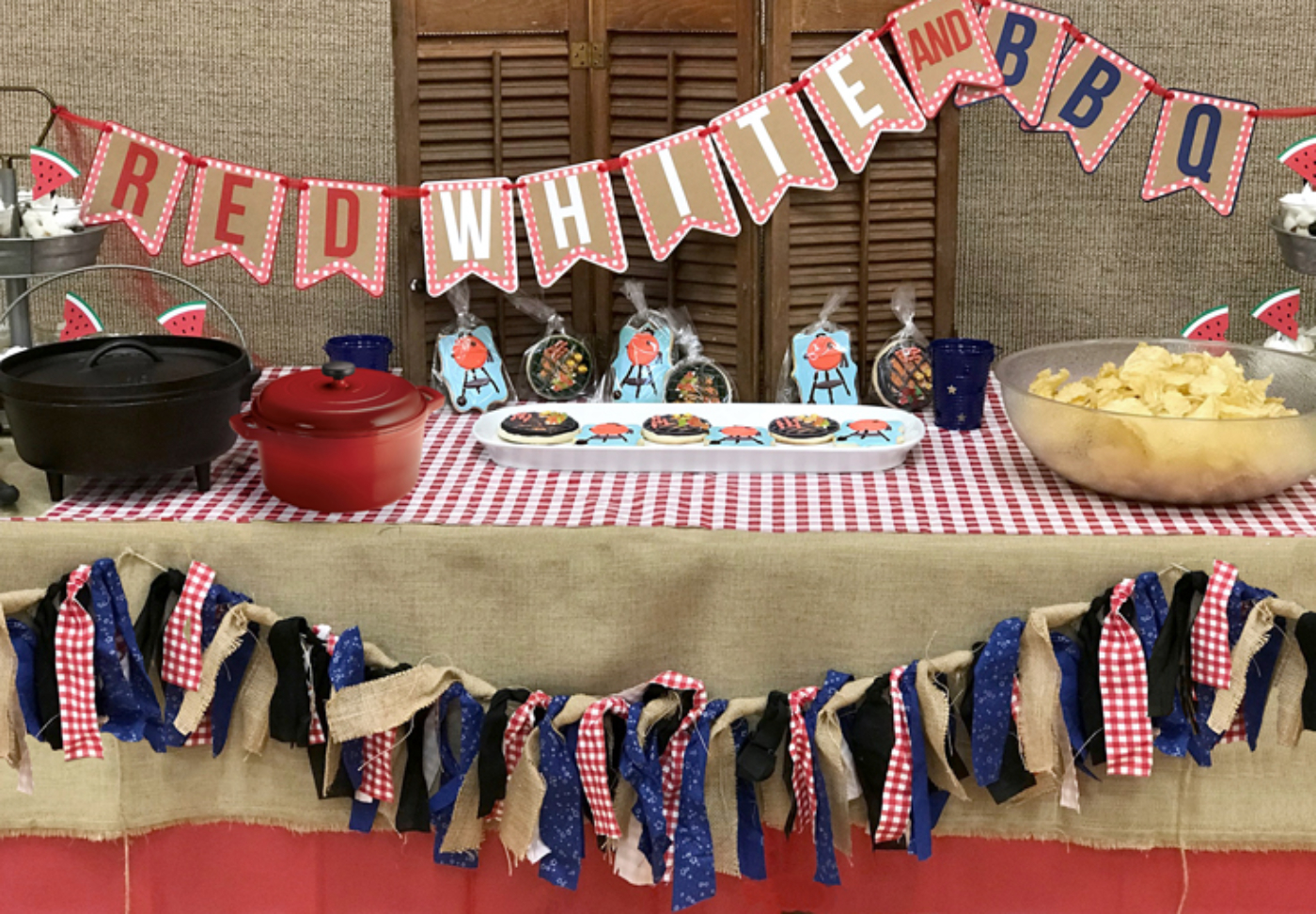 Love the Red, White, and BBQ banner as well as the tassel garlands. Custom BBQ cookies also available. They were amazing!! Red, white, and BBQ party | Halfpint Design - summer party, Memorial weekend bbq, 4th of July, Labor Day party, BBQ party, Oktoberfest, neighborhood grill, brat party