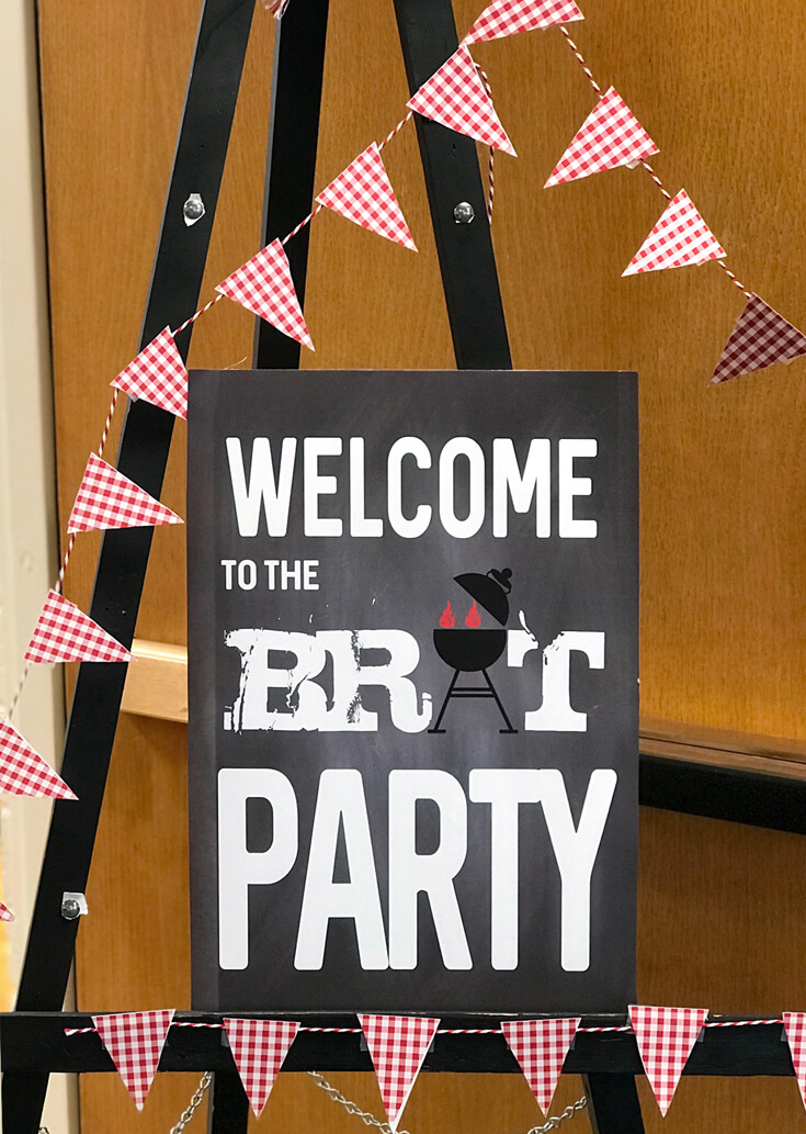 Welcome to the Brat Party sign. End of summer BBQ...bring on fall! Red white and BBQ party? Halfpint Design - summer party, Memorial weekend bbq, 4th of July, Labor Day party, BBQ party, Oktoberfest, neighborhood grill, brat party