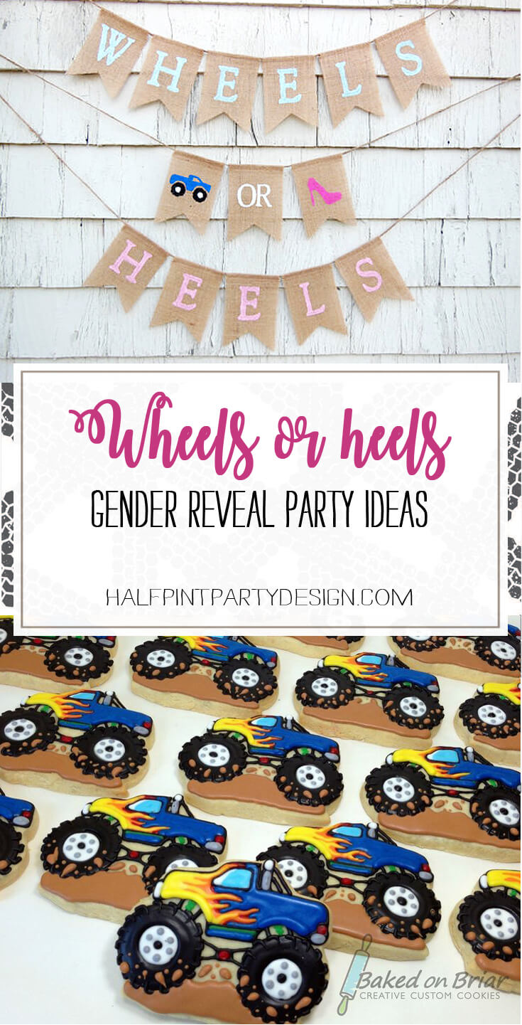 Monster truck or race fans? This gender reveal is right up your alley! Wheels or Heels Gender Reveal Party Ideas | Halfpint Design - race car, motorcycle, monster trucks and heels