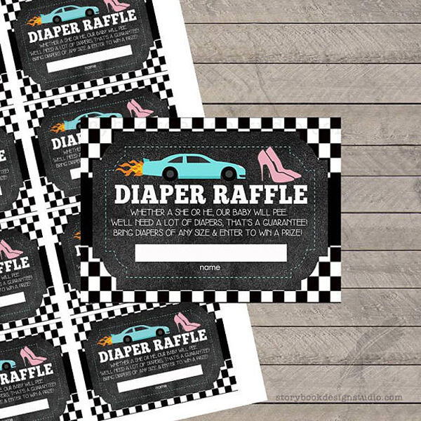 Diaper raffles are a great idea. Everyone that brings a pack of diapers received a raffle ticket for a special prize! Girl or boy? They ALL need diapers! Wheels or Heels Gender Reveal Party Ideas | Halfpint Design - race car, motorcycle, monster trucks and heels