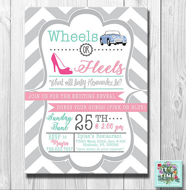It all starts with the invitation. Are you married to a car guy? This race car wheels or heels invite is modern and classy. Wheels or Heels Gender Reveal Party Ideas | Halfpint Design - race car, motorcycle, monster trucks and heels