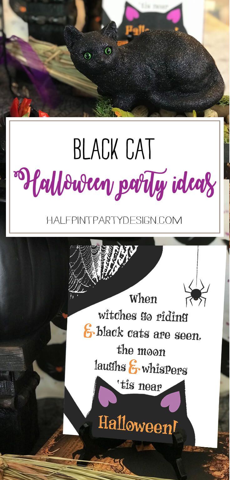 """Easy and ways to throw a kid friend halloween party. spook it up or keep it cute. Black cats and witches are the perfect Halloween party theme. """"Black Cat Halloween Party Reveal"""" on Halfpint Design - Halloween party ideas, kitty cat party, kids party, cat party treats"""