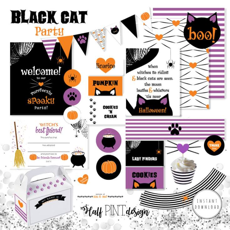 """Decorate for the cutest halloween party ever! Darling black cat halloween party printable package. """"Black Cat Halloween Party Reveal"""" on Halfpint Design - Halloween party ideas, kitty cat party, kids party, cat party treats"""