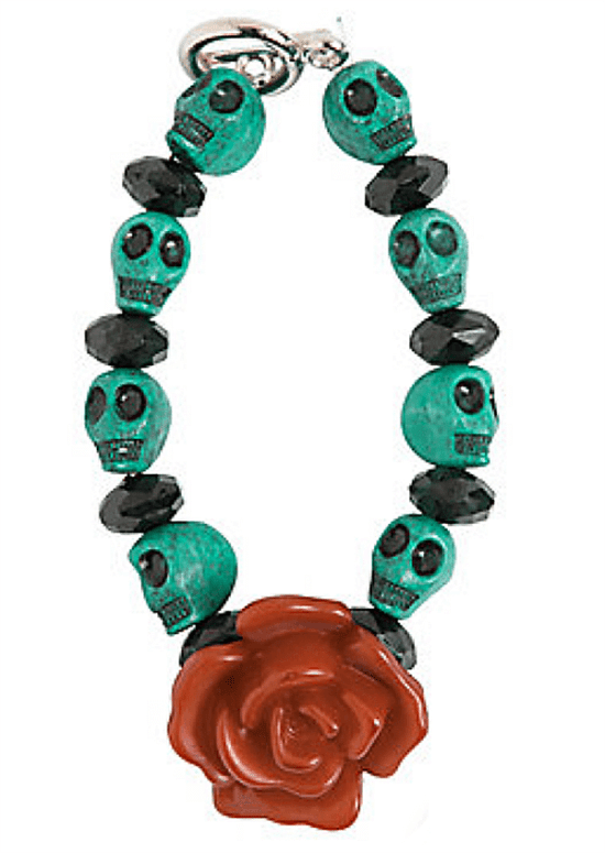 Isn't this bracelet cute? It comes in a kit and would be such a fun day of the dead party favor or even a party activity. Dia de los Muertos Party Resources   Halfpint Design - Halloween party, party decorations, party clothes