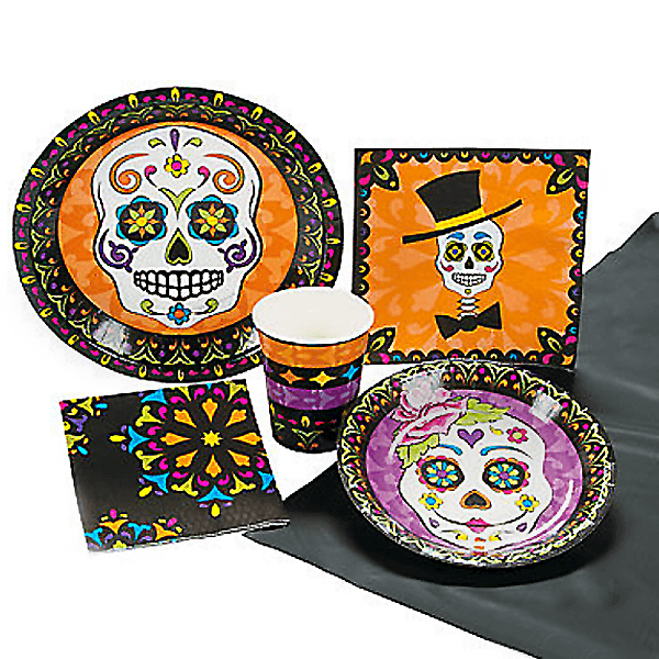 Perfect paper goods for your Day of the Dead party. Dia de los Muertos Party Resources   Halfpint Design - Halloween party, party decorations, party clothes