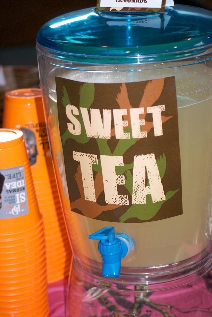 Sweet Tea. Hunting Themed Birthday Party | Halfpint Design - Duck Dynasty, duck hunt party, hunting party, birthday party theme