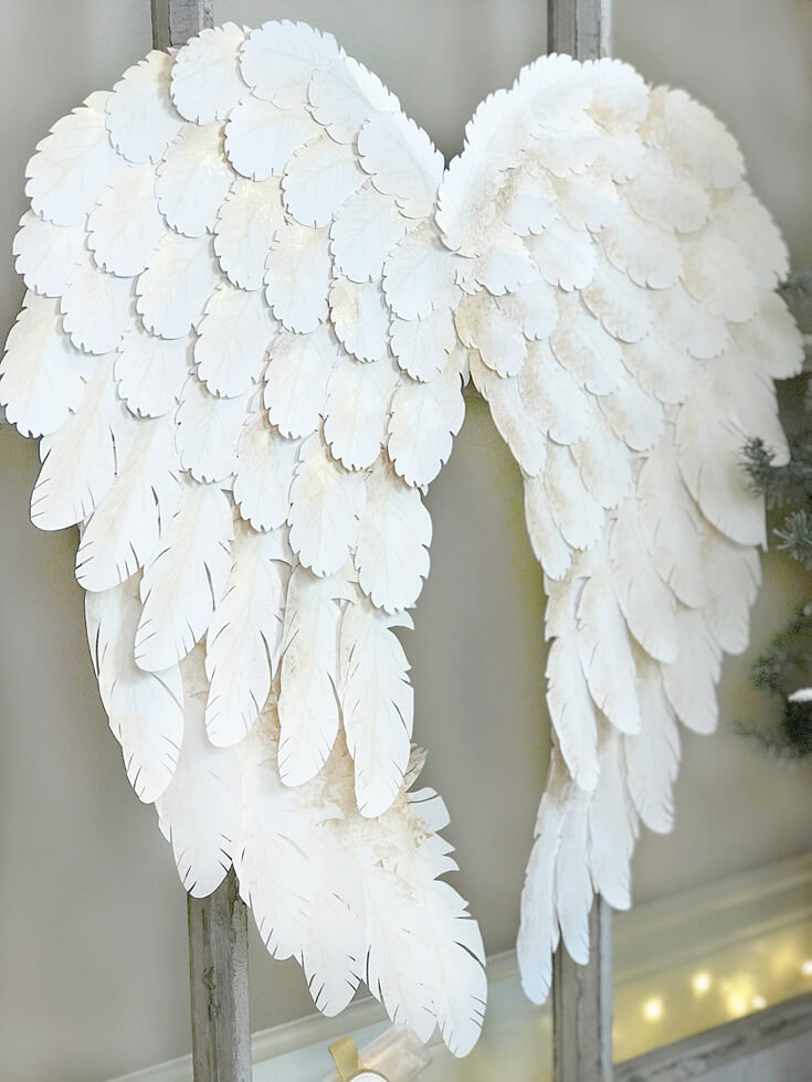 Holiday angel wing tutorial halfpint party design i created angel wings with my cricut explore air for a peace on earth holiday display solutioingenieria Choice Image