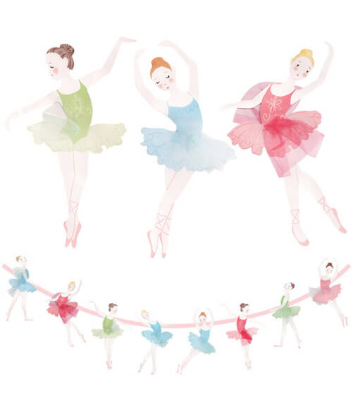 Looking for a great winter birthday idea? Or holiday party theme for your friends and family? A Nutcracker ballet party is the perfect theme and I've got a list of 26 amazing products that will up your party game! This little ballerina banner is darling with little tufts of tulle on each dancer. Pretty Pastel Nutcracker Ballet Party Ideas on Halfpint Design. Ballet party, Christmas party, Nutcracker party.