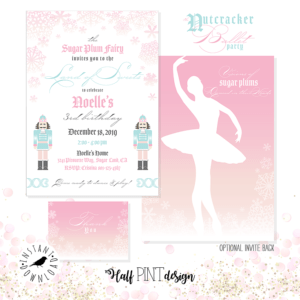 Looking for a great winter birthday idea? Or holiday party theme for your friends and family? A Nutcracker ballet party is the perfect theme and I've got a list of 26 amazing products that will up your party game! This invitation from the Sugar Plum Fairy is so soft and feminine, comes with a back and envelope design and thank you card. Pretty Pastel Nutcracker Ballet Party Ideas on Halfpint Design. Ballet party, Christmas party, Nutcracker party.