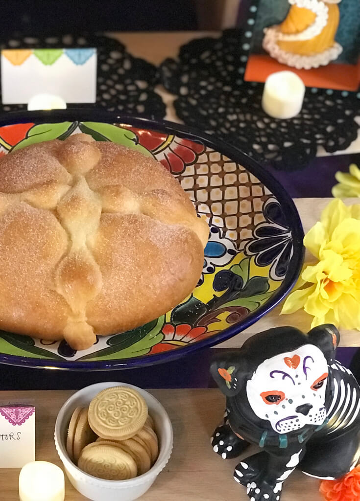 Great traditional Mexican food is a must for a Coco movie party! And Pan de Muerto is as traditional as it gets! I ordered mine from a local Mexican bakery and it's so delicious! Coco Viewing Party Tips at Halfpint Design. Day of the Dead Party, Dia de los Muertos, Coco birthday party